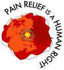 "The 'poppy-logo' of the Pain Relief Network: vivid red poppy flower with ""Pain Relief is a Human Right"" in a semicircle around it."